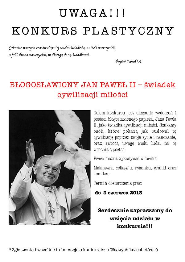 Konkurs Plastyczny Błogosławiony Jan Paweł Ii świadek